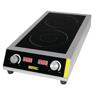 buffalo heavy duty double induction hob gf239 buy online at nisbets. Black Bedroom Furniture Sets. Home Design Ideas