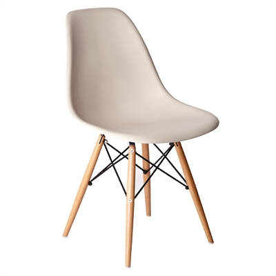PP Moulded Chair (Beige) With Wooden Spindle Legs (Pack 2) ...