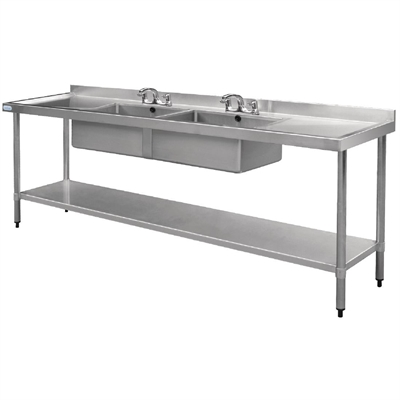 Vogue Stainless Steel Sink Double Bowl and Double Drainer 2400mm ...