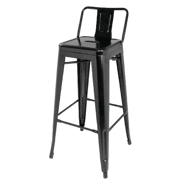 Wondrous Bolero High Metal Bar Stools With Back Rests Black Pack Of 4 Machost Co Dining Chair Design Ideas Machostcouk