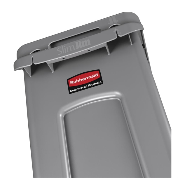 Rubbermaid Slim Jim Container With Venting Channels Grey