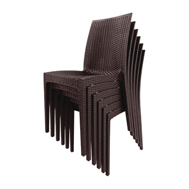 Bolero Brown Pp Rattan Bistro Side Chairs Pack Of 4