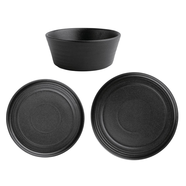 Olympia Cavolo Serve Like A Pro 18 Piece Textured Black Dinner Set Sa622 Buy Online At Nisbets