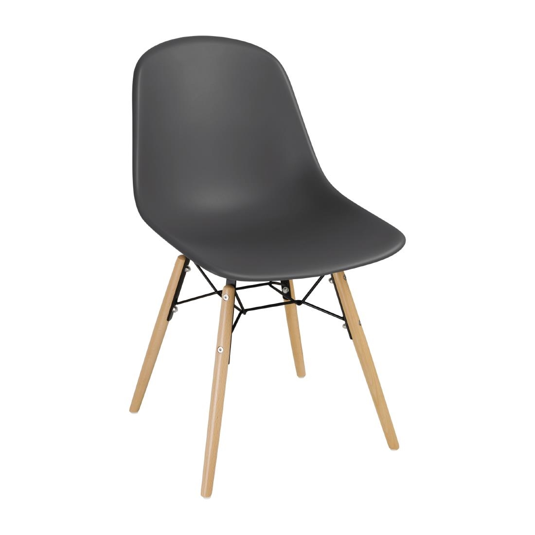 Image of Bolero Arlo PP Moulded Side Chair Charcoal with Spindle Legs (Pack of 2) Pack of 2