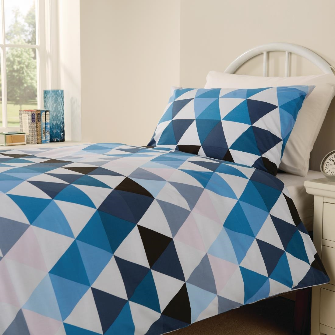 Click to view product details and reviews for Mitre Essentials Geo Bedding Set Blue Double.