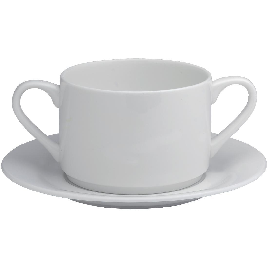 Image of Elia Glacier Fine China Handled Soup Cups 220ml (Pack of 6) Pack of 6