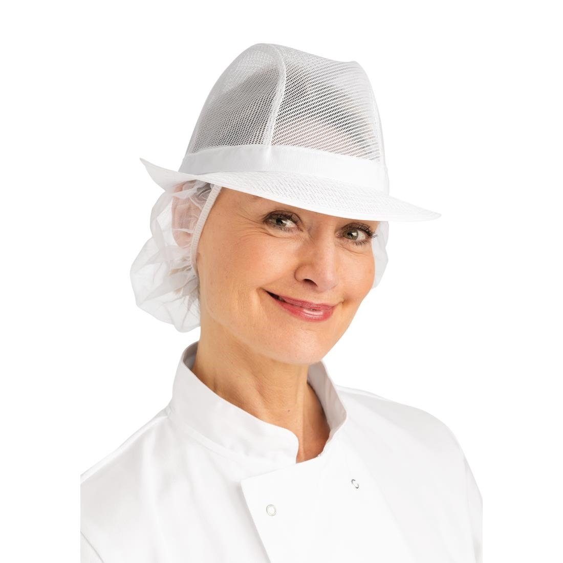 Image of Trilby Hat with Net Snood White L