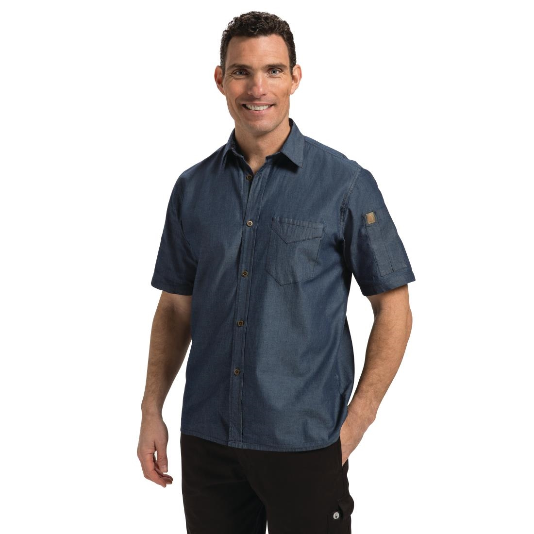 Click to view product details and reviews for Chef Works Detroit Unisex Denim Shirt Short Sleeve Blue M.