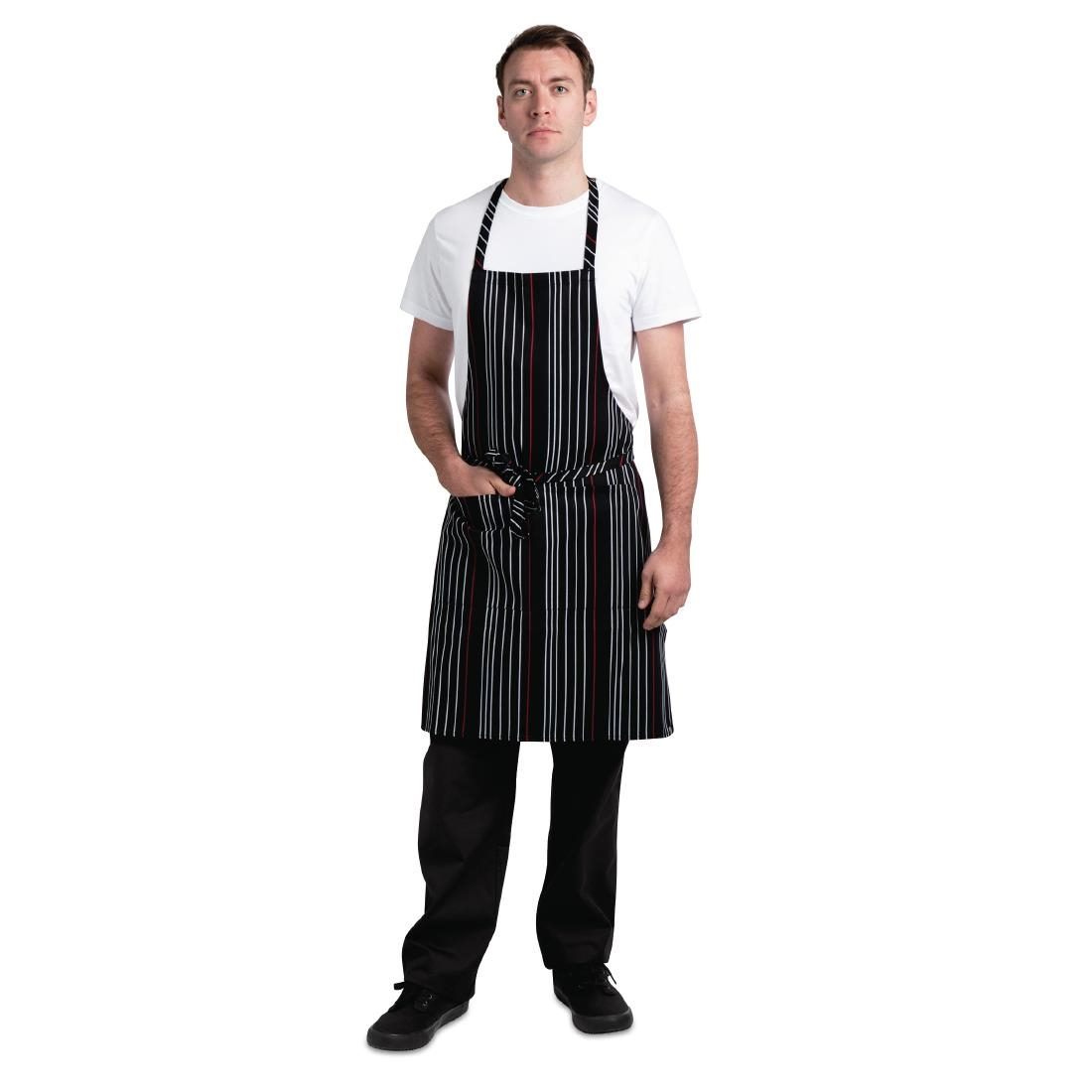 Image of Chef Works Bib Apron Black Red and White Striped