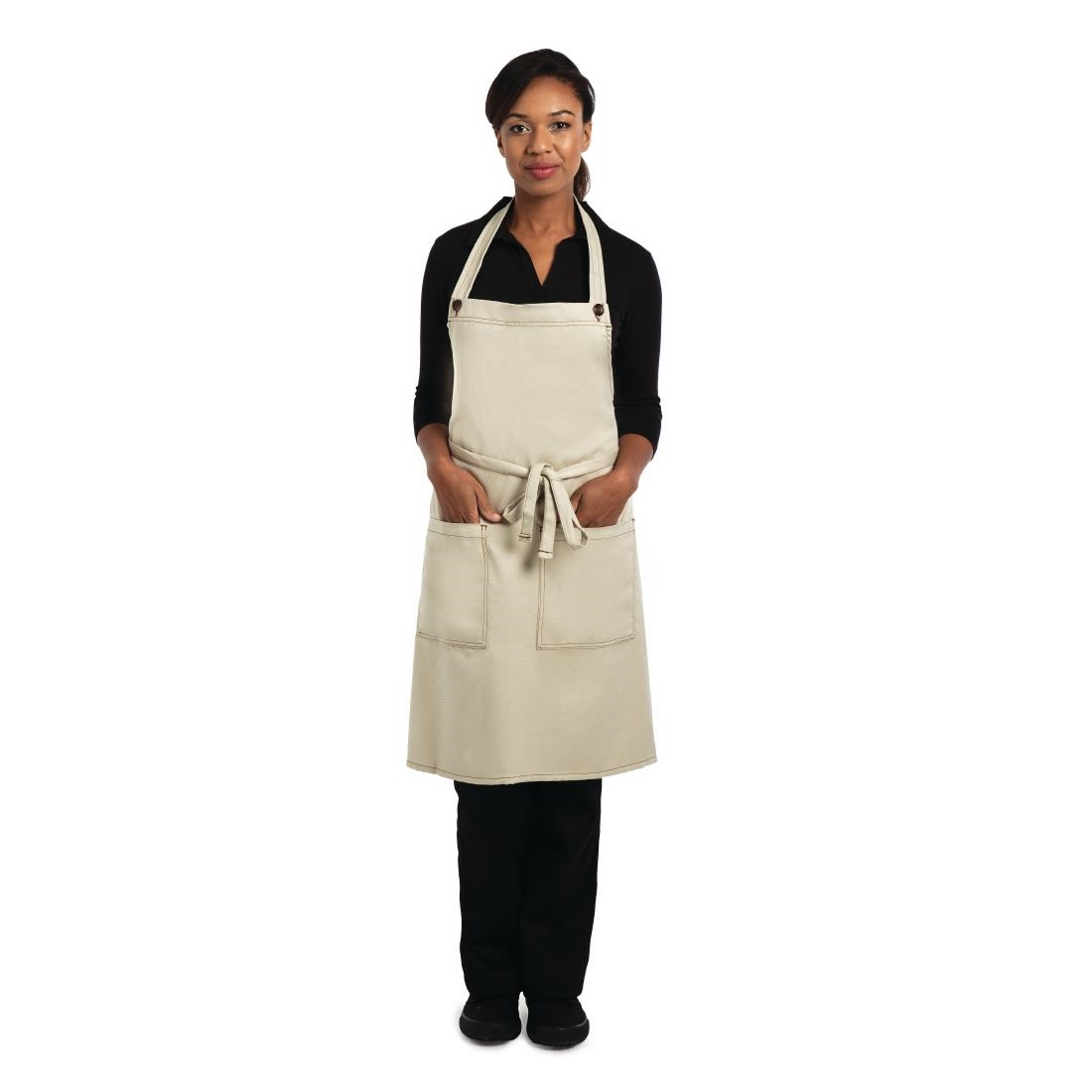 Click to view product details and reviews for Chef Works Soho Bib Apron With Adjuster Button Neck Natural.
