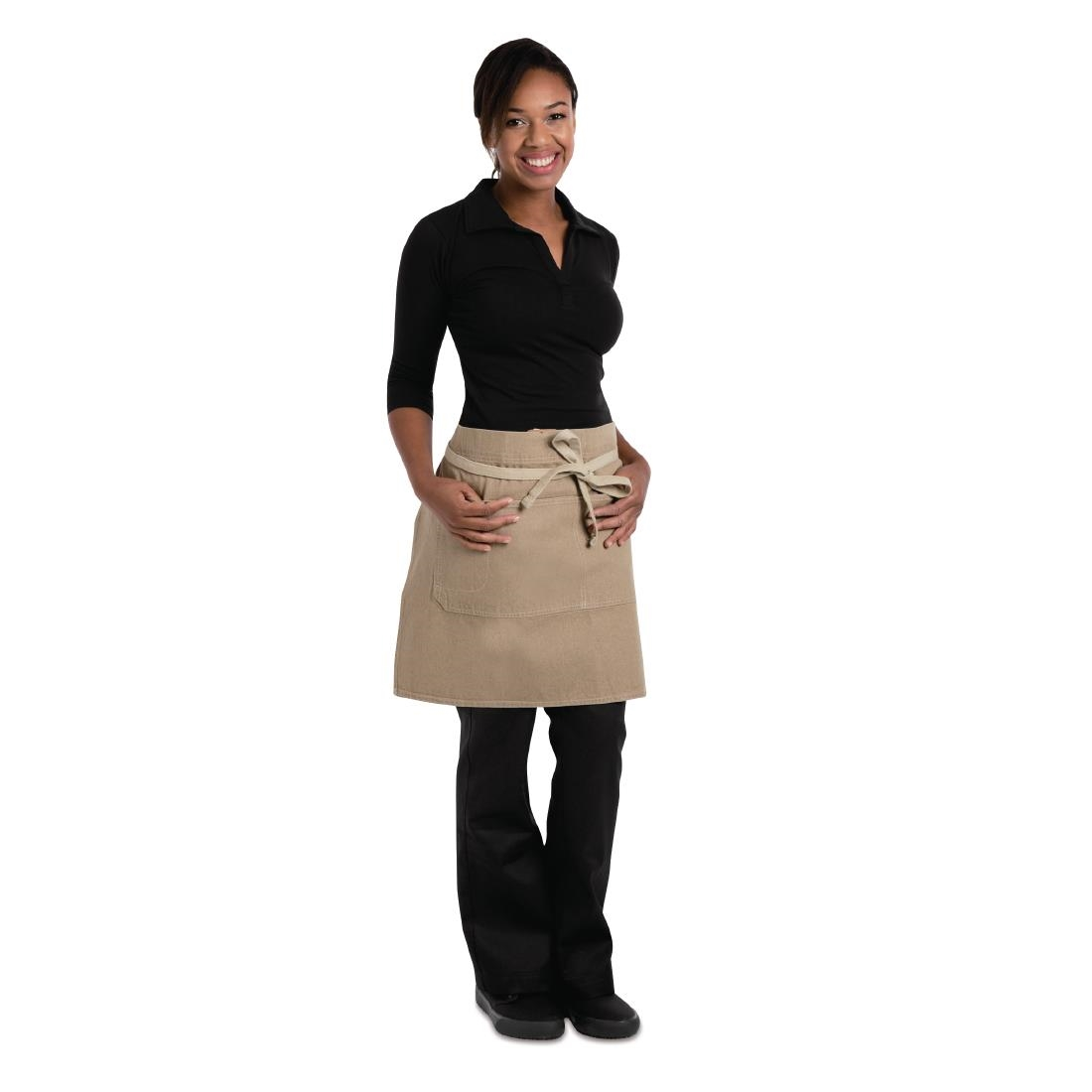 Click to view product details and reviews for Chef Works Urban Austin Denim Half Bistro Apron Natural.
