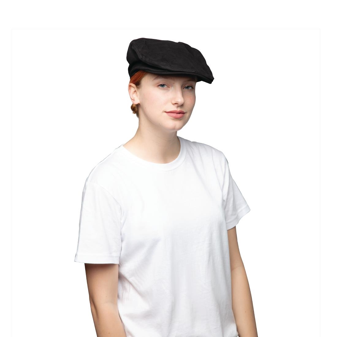 Image of Chef Works Rockford Pigment Dye Canvas Flat Cap Steel Grey S-M