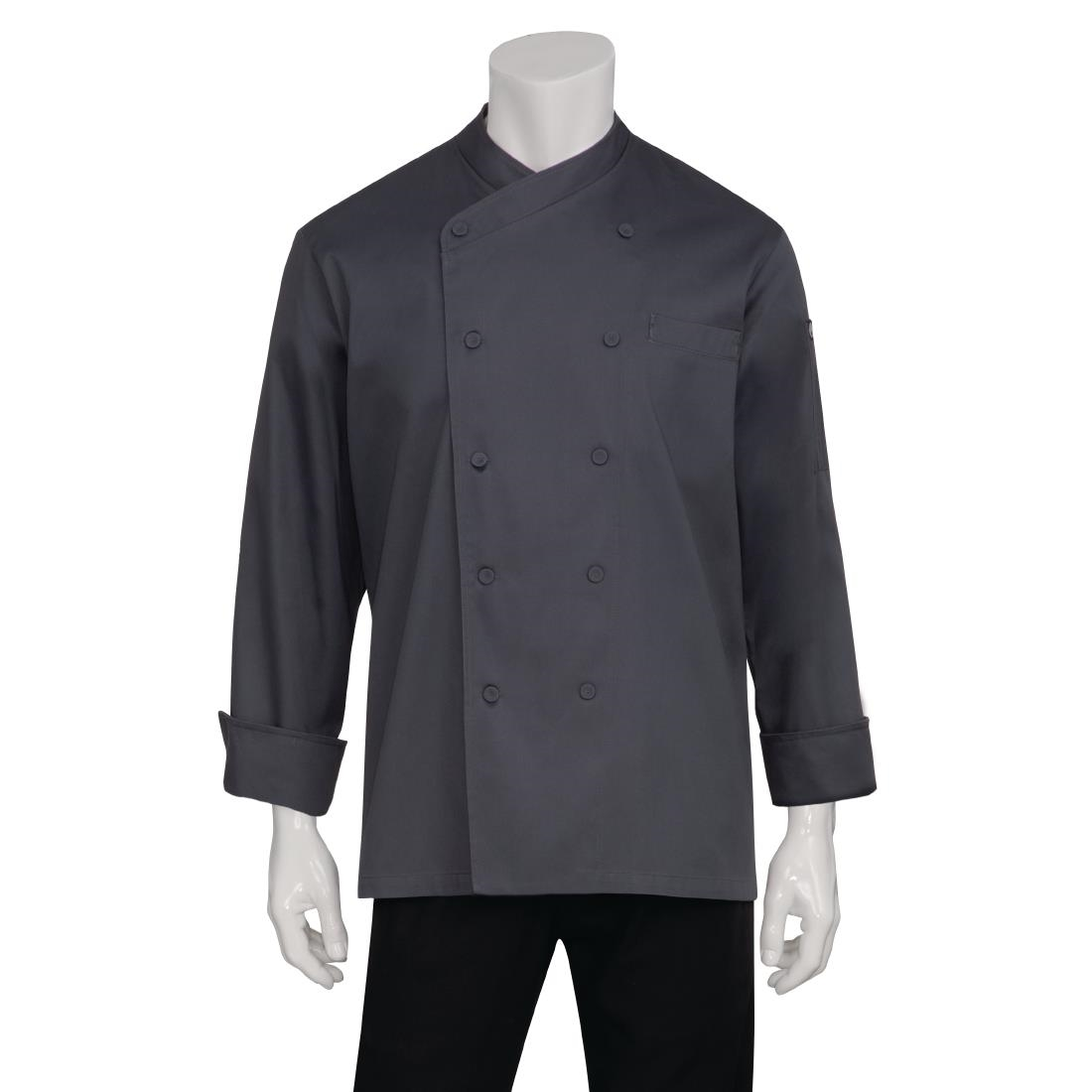 Image of Chef Works Anguilla Executive Unisex Chef Jacket Charcoal L