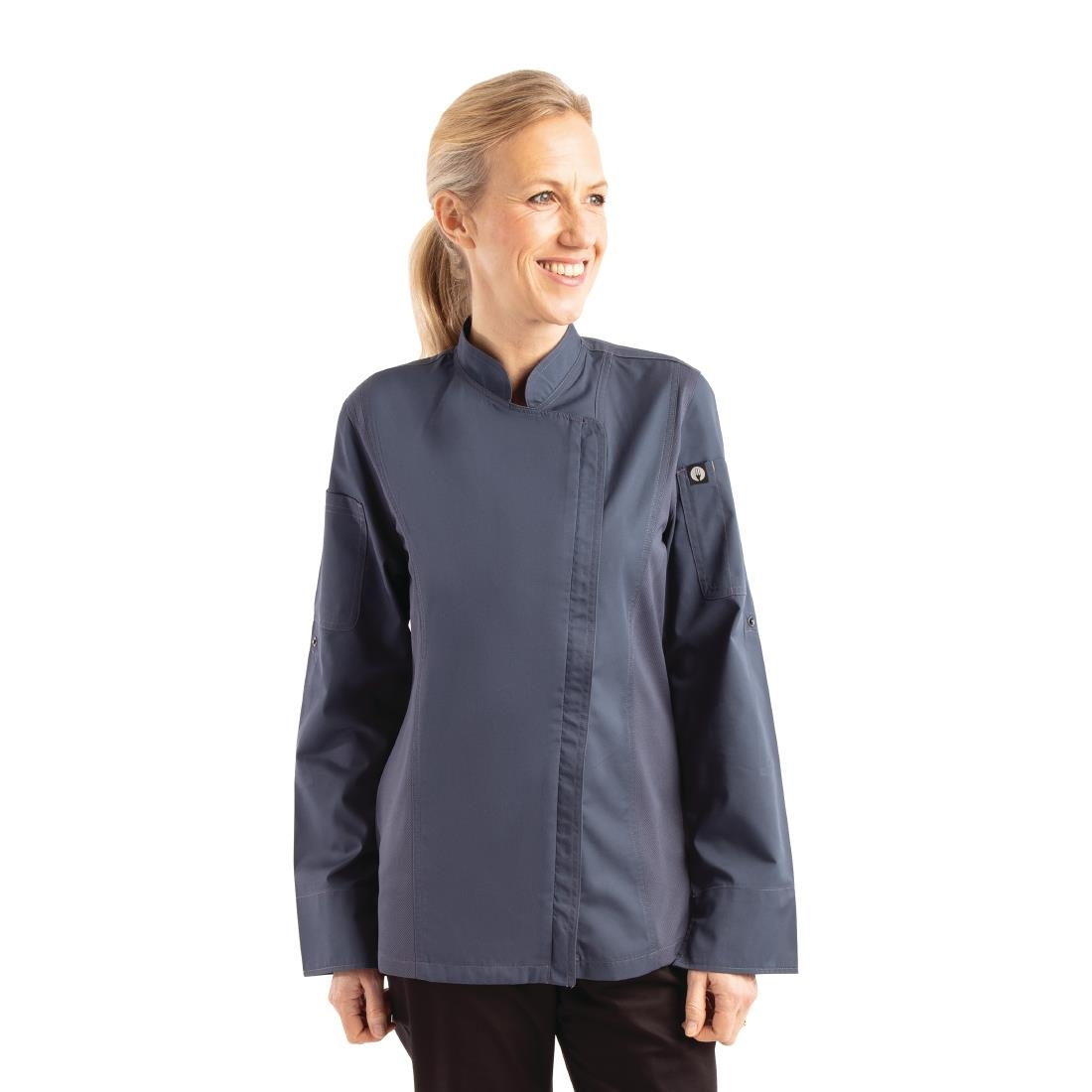 Click to view product details and reviews for Chef Works Hartford Lightweight Zip Womens Chef Jacket Blue L.