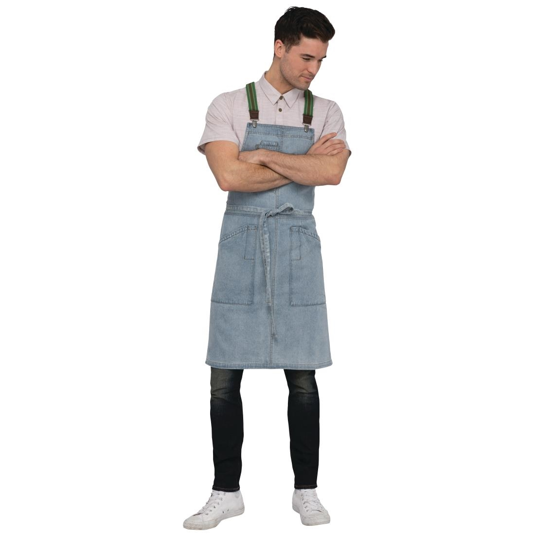 Click to view product details and reviews for Chef Works Urban Berkeley Denim Brace Bib Apron Sky Blue.