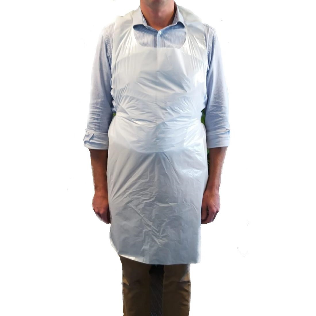 Image of Disposable Polythene Aprons 25 Micron White (Pack of 500) Pack of 500