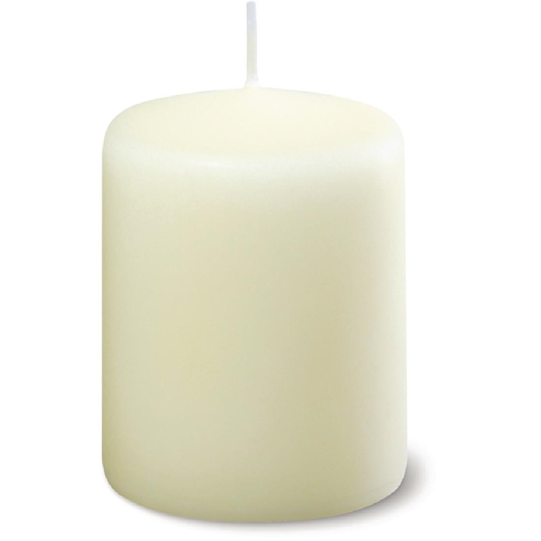 Image of Ivory Pillar Short 3inch Candle (Pack of 12) Pack of 12