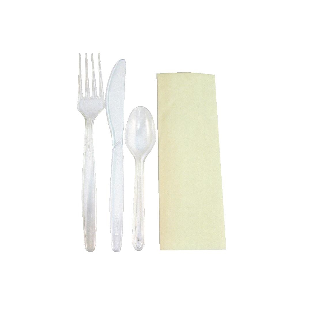 Image of eGreen Deluxe Individually Wrapped Heavy-Duty Disposable Cutlery Sets (Pack of 250) Pack of 250