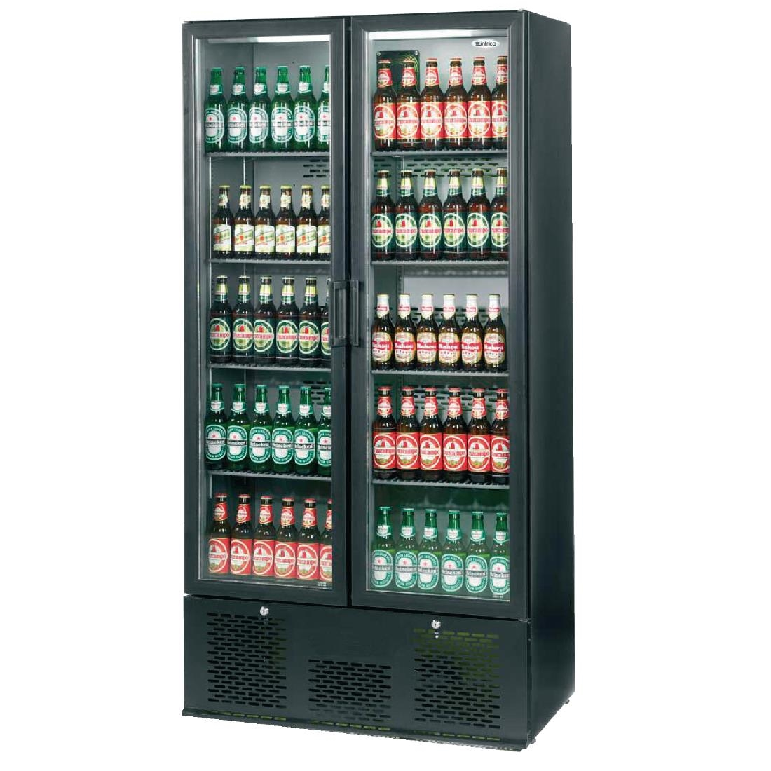Image of Infrico Upright Back Bar Cooler with Hinged Doors in Black ZX20