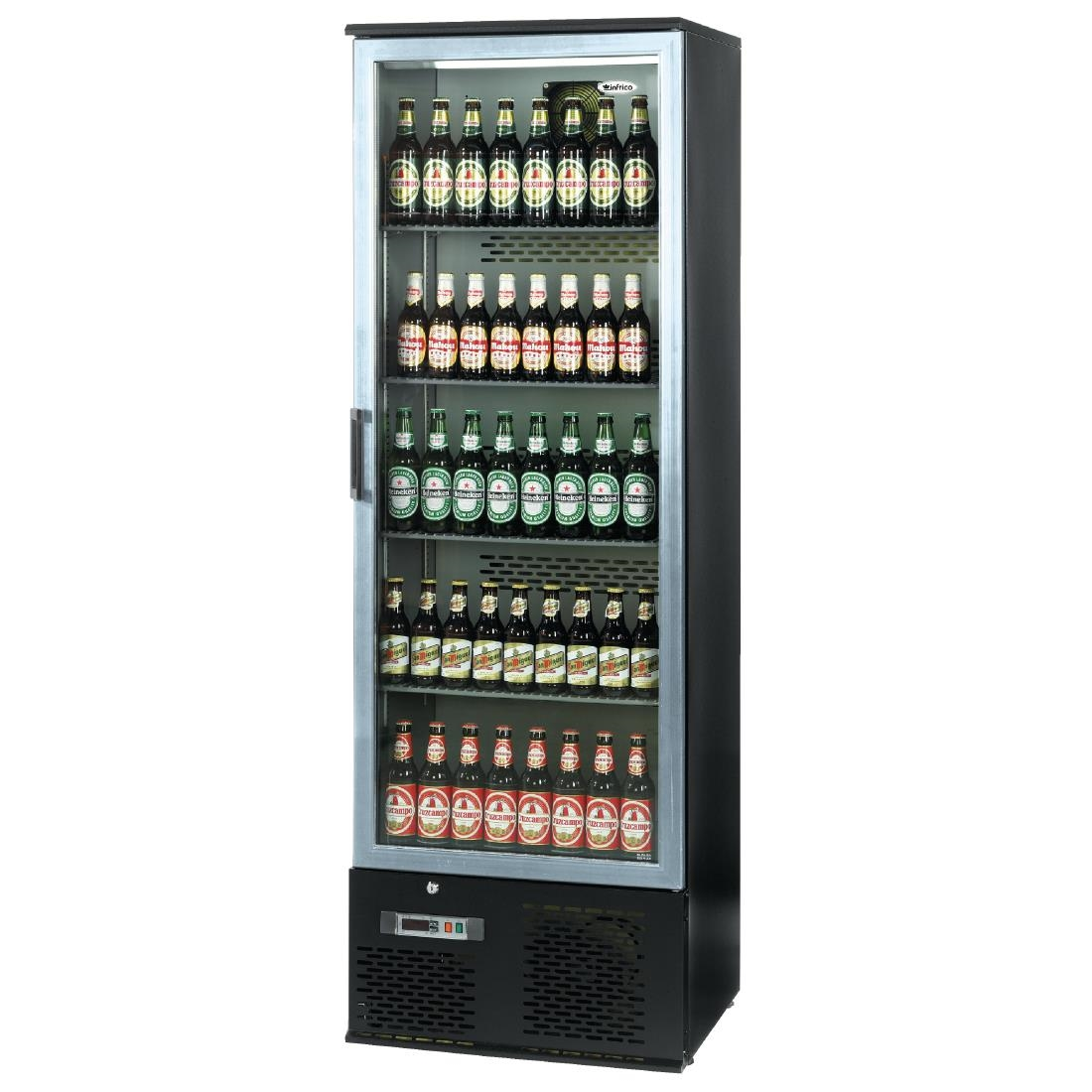 Image of Infrico Upright Back Bar Cooler with Hinged Door in Black and Steel ZXS10