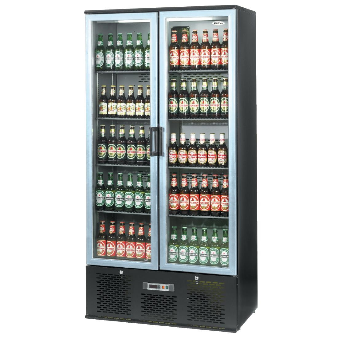 Image of Infrico Upright Back Bar Cooler with Hinged Doors in Black and Steel ZXS20