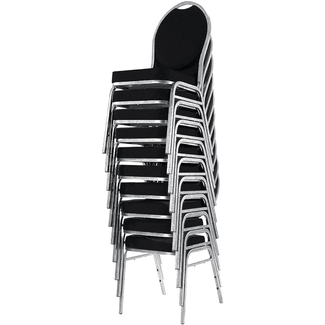 4X Bolero Banquet Chairs Black Stackable Furniture Steel Frame Polyester Cushion