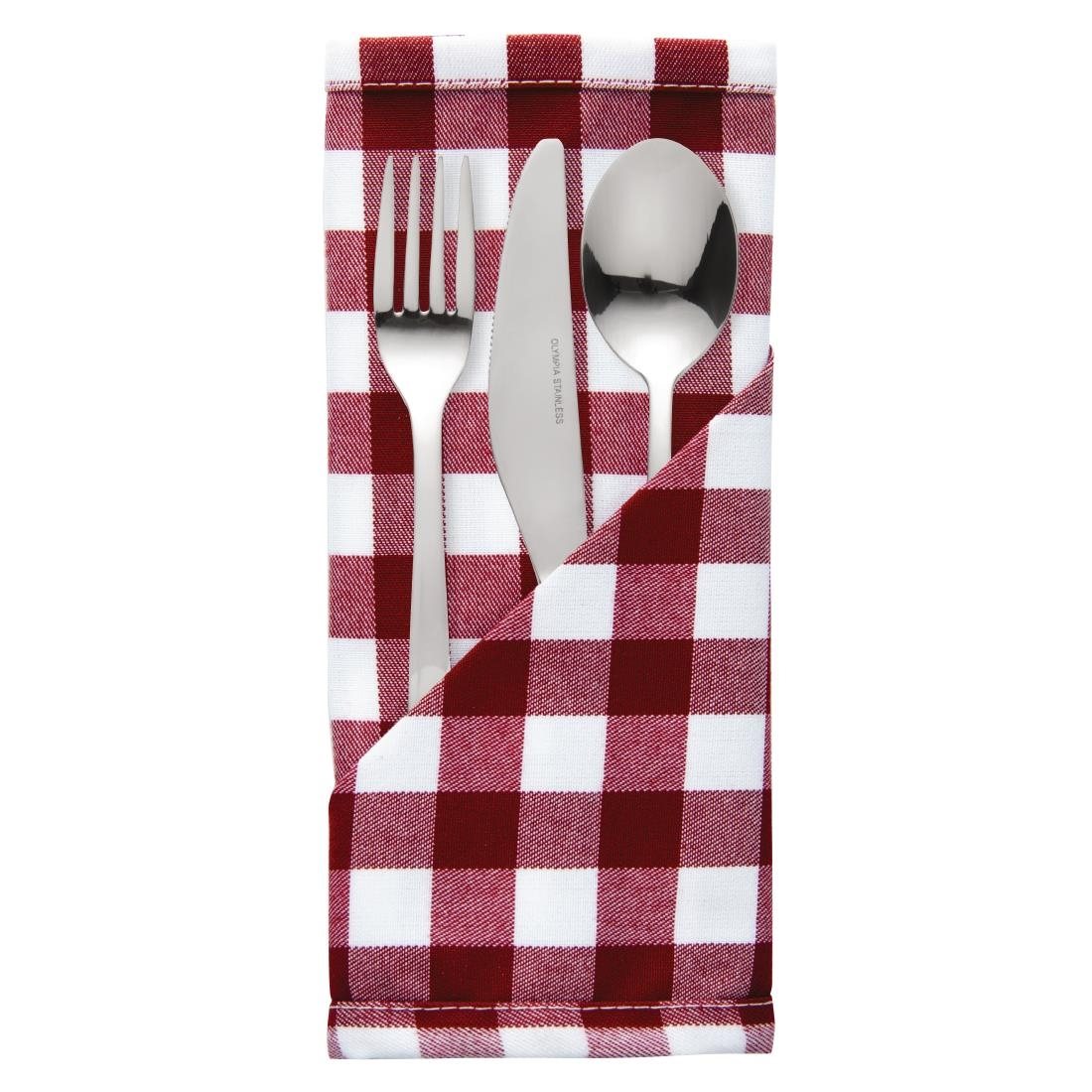 Image of Gingham Polyester Napkins Red Check (Pack of 10) Pack of 10