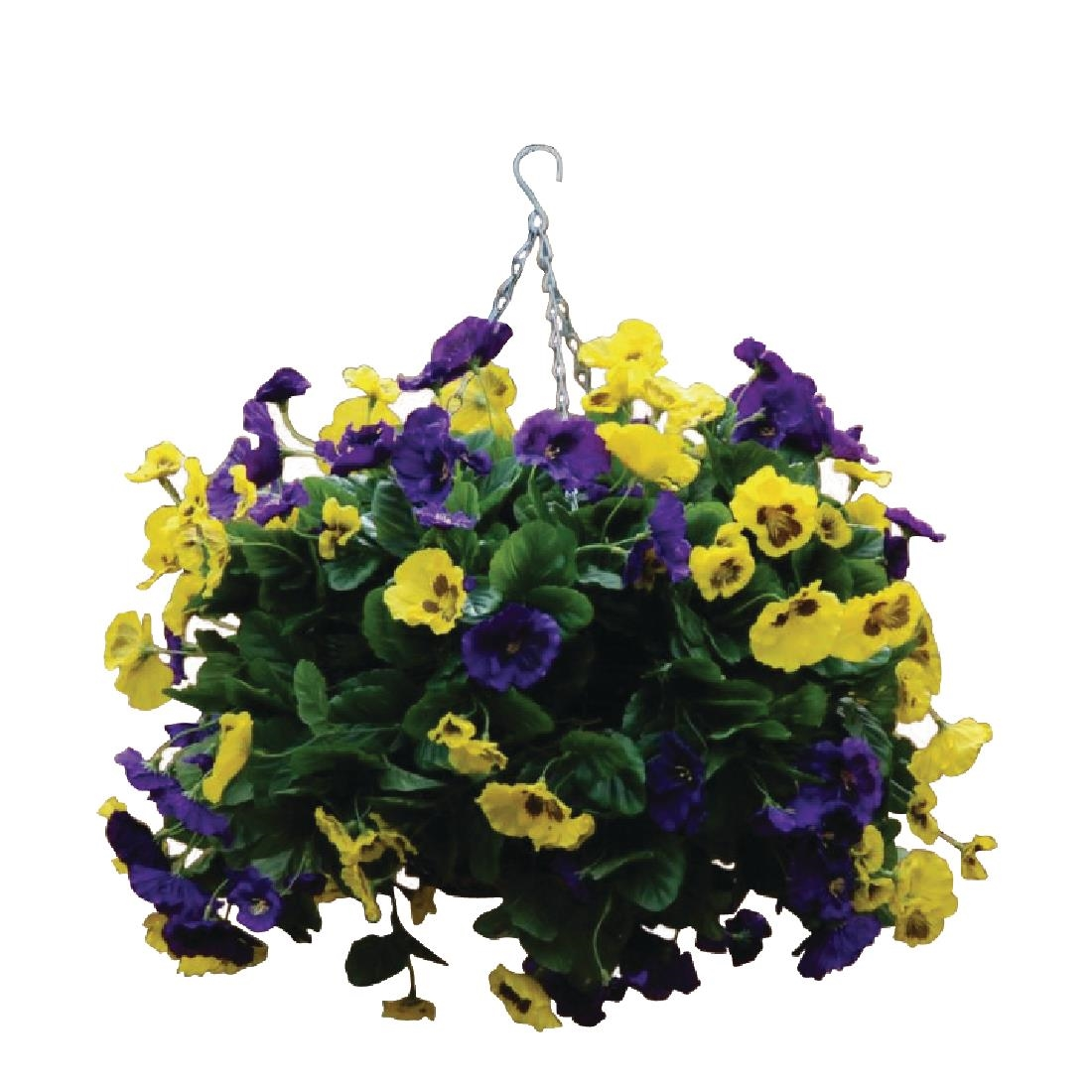 Image of 22 Purple and Yellow Artificial Pansies Ball