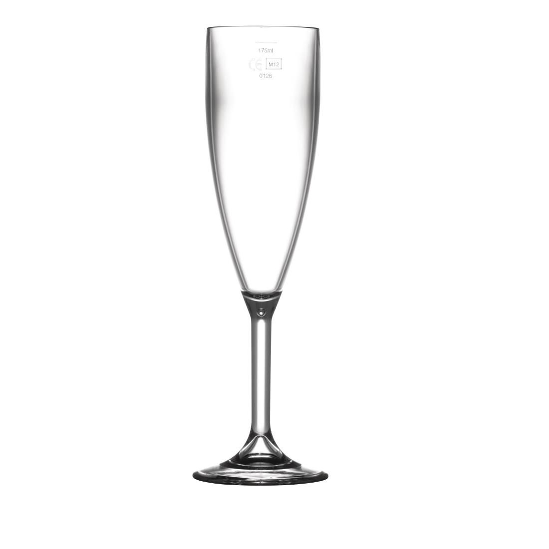 Image of BBP Polycarbonate Champagne Flutes 200ml CE Marked at 175ml (Pack of 12) Pack of 12