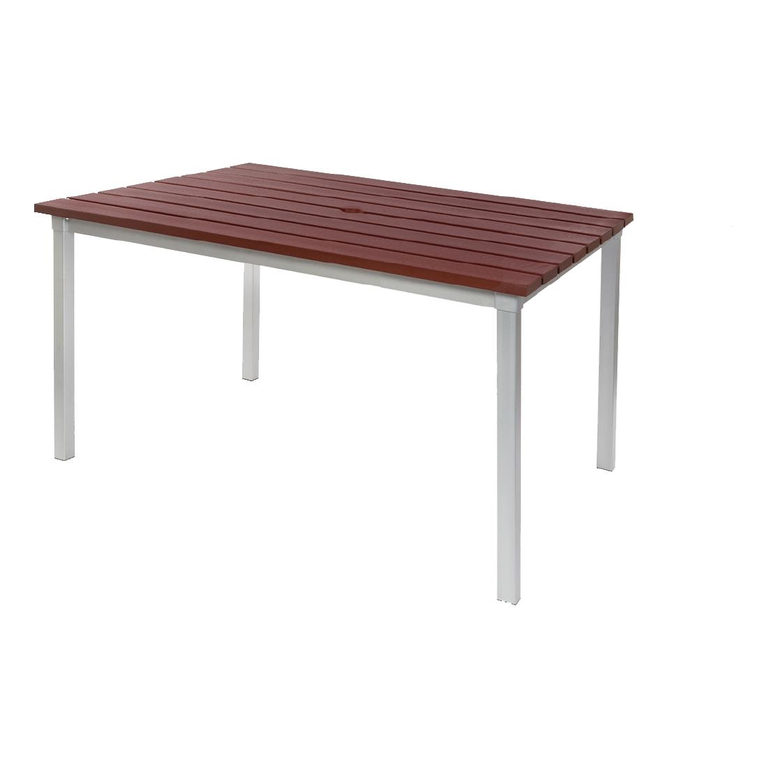 Image of Enviro Outdoor Walnut Effect Faux Wood Table 1250mm