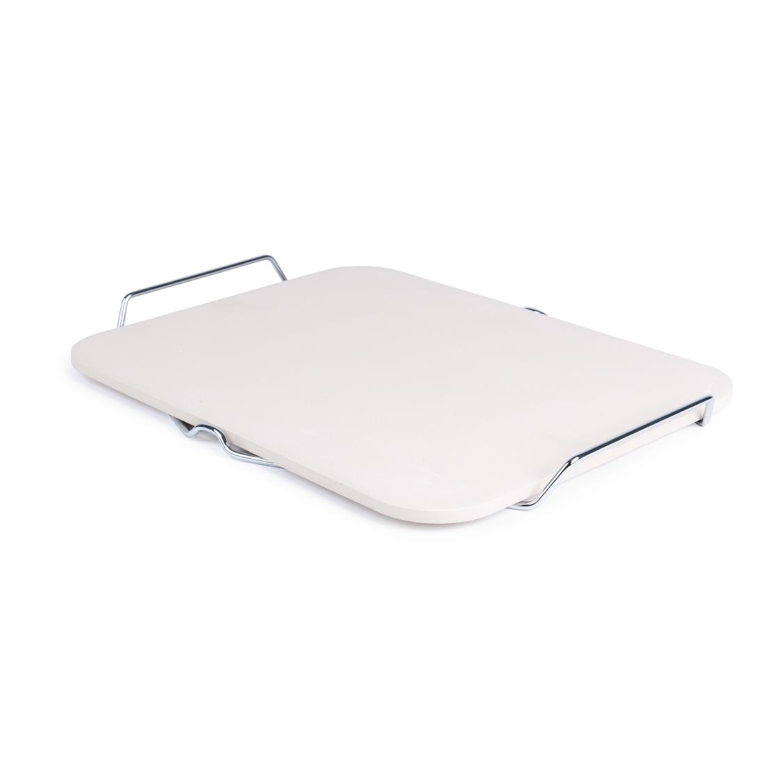 Image of Rectangular Pizza Stone with Metal Serving Rack 15in
