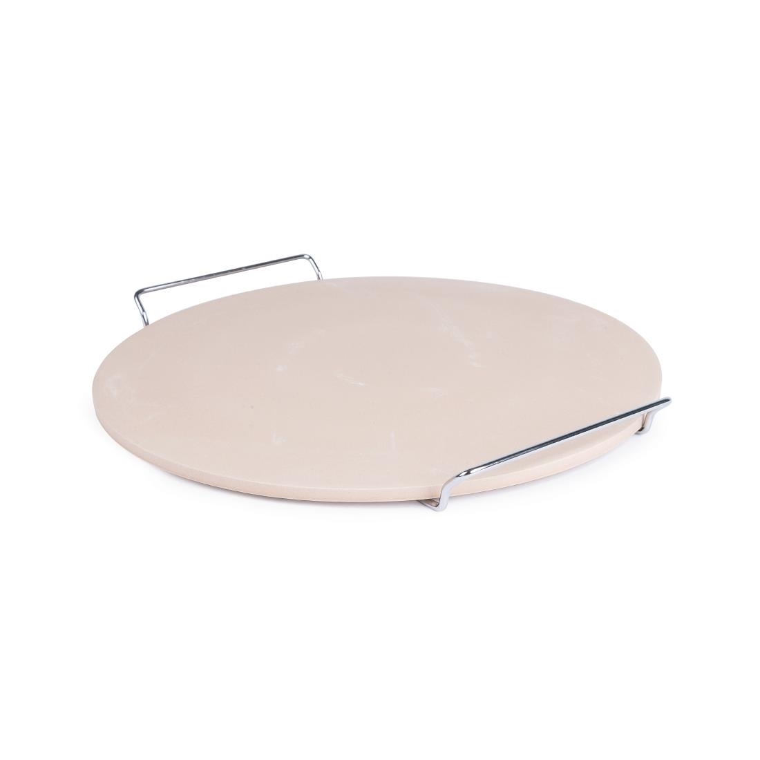 Image of Round Pizza Stone with Metal Serving Rack 15in