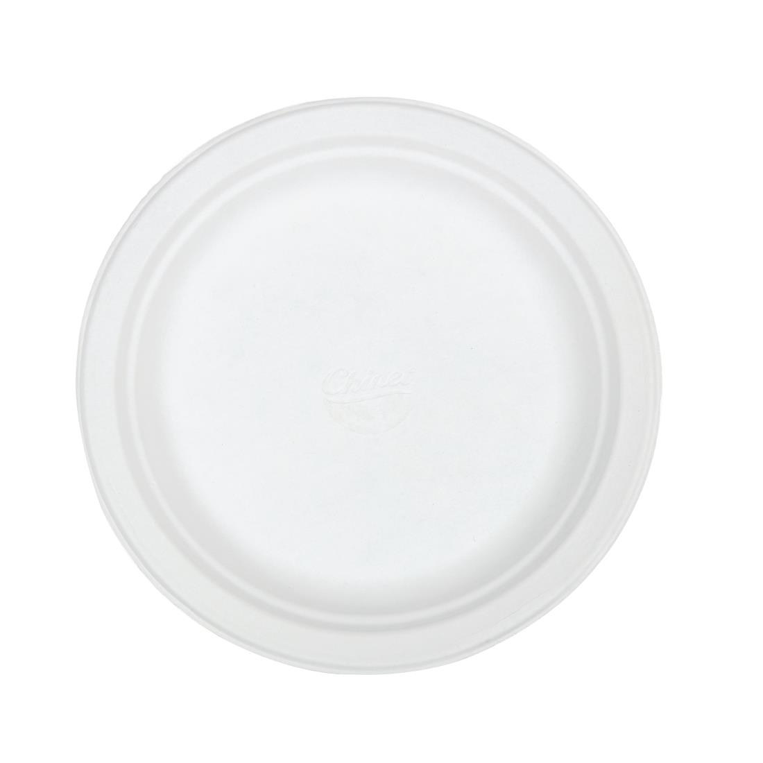 Image of Huhtamaki Compostable Moulded Fibre Chinet Plates 220mm (Pack of 125) Pack of 125