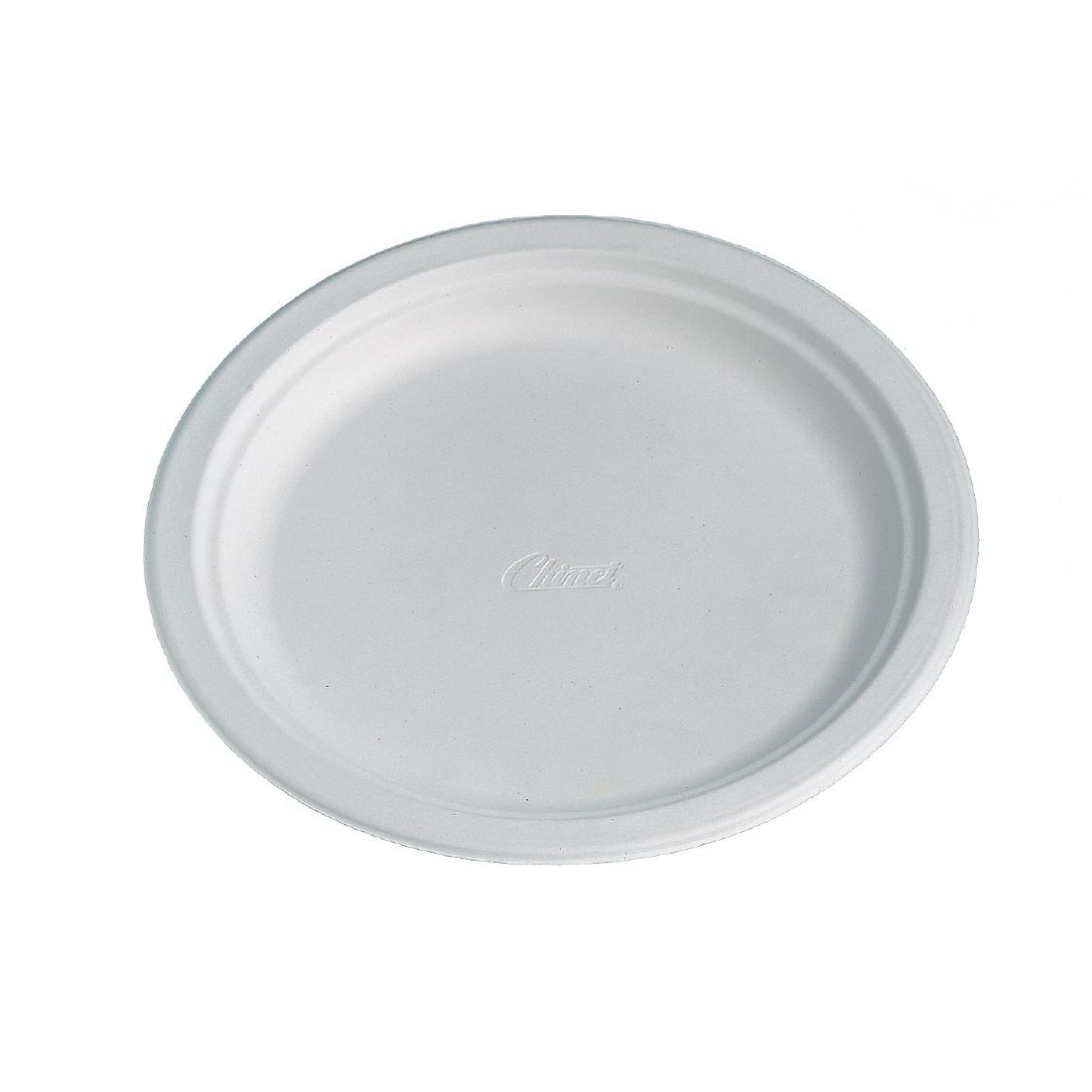 Image of Huhtamaki Compostable Moulded Fibre Chinet Plates 240mm (Pack of 100) Pack of 100