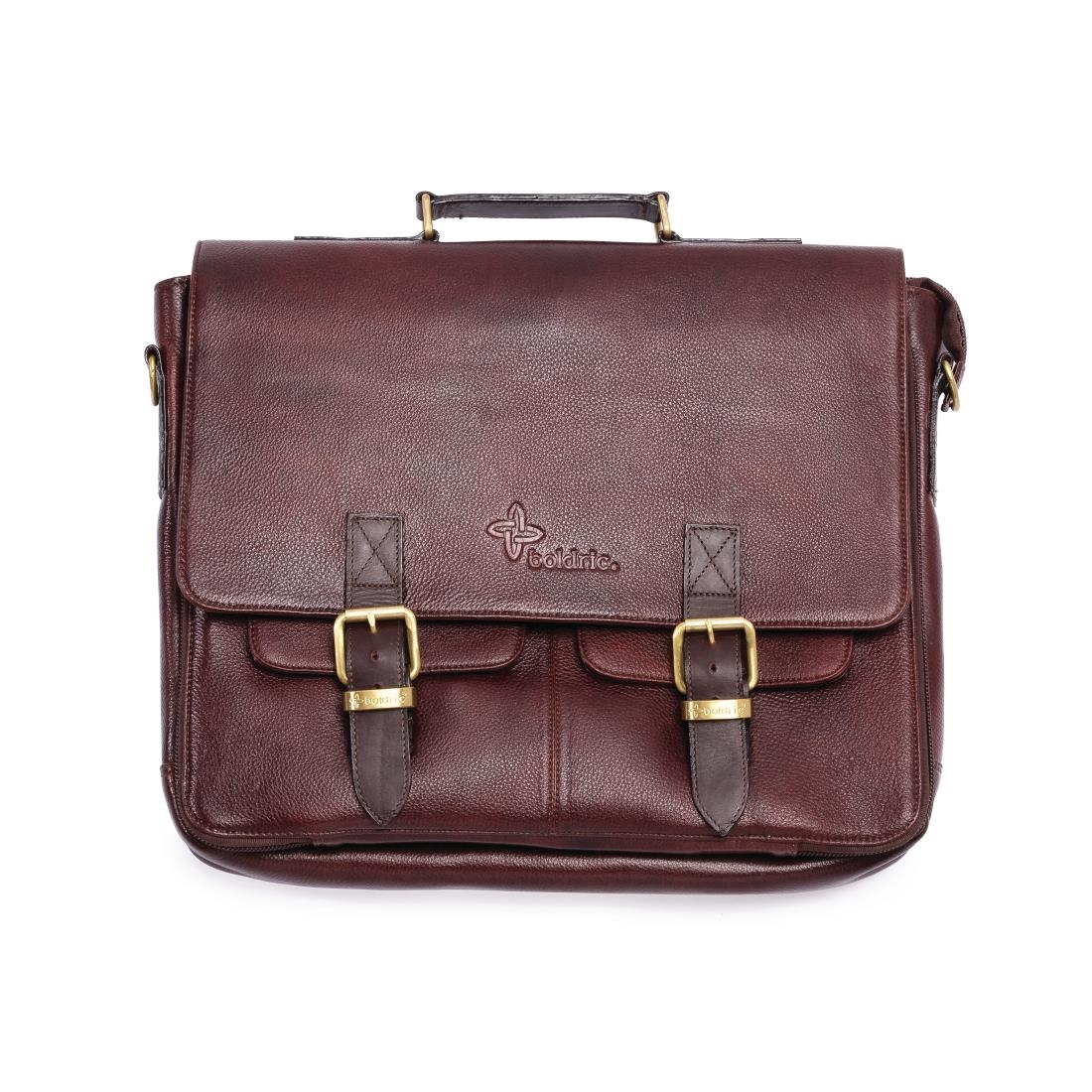 Image of Boldric Messenger Leather Knife Bag Brown 10 Slots