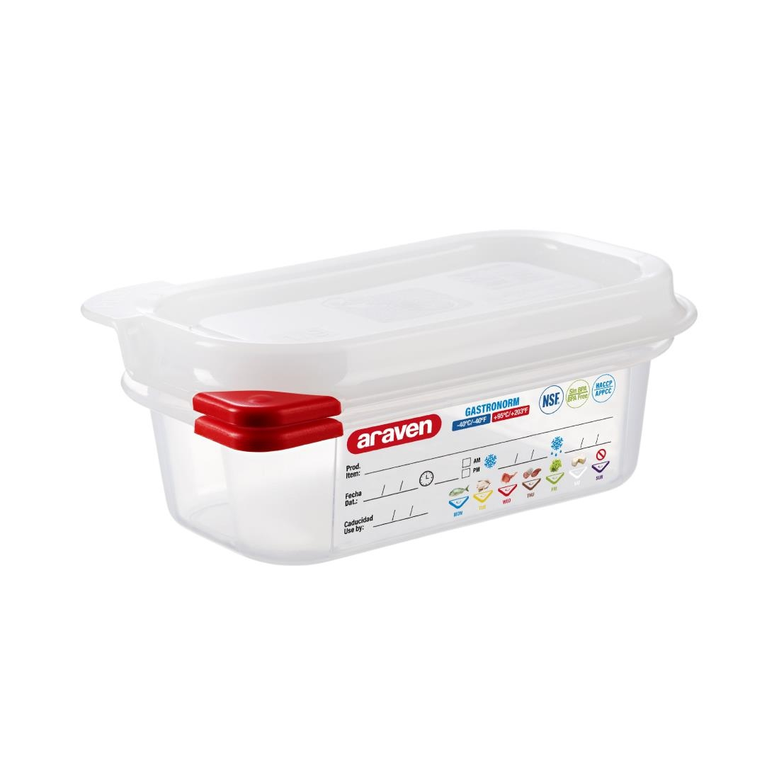 Image of Araven Polypropylene ColorClip Airtight Container GN 1/9 65mm