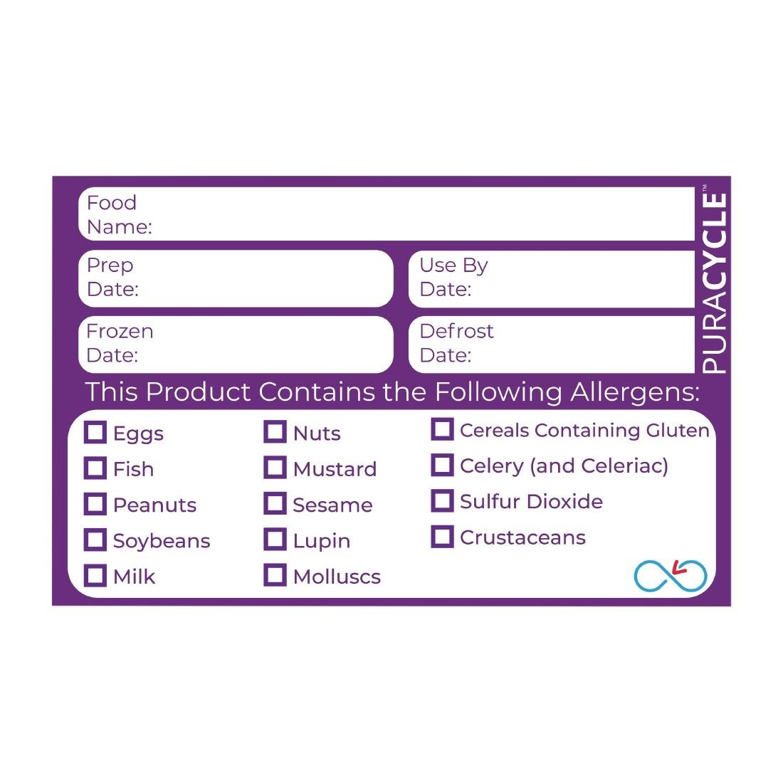 Image of Puracycle Reusable Allergen Labels (Pack of 20) Pack of 20
