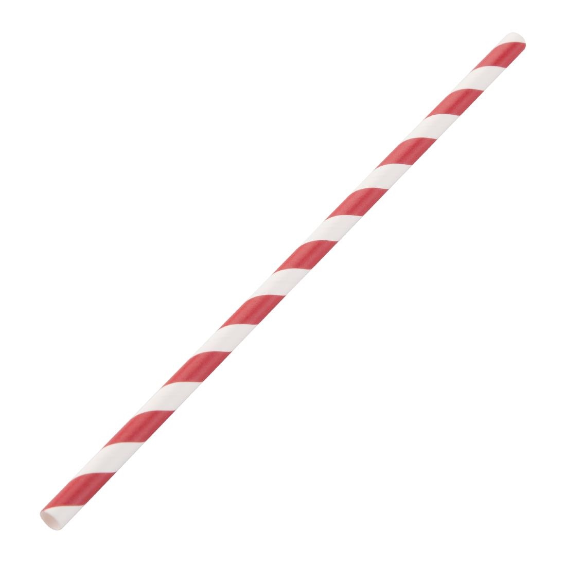 Fiesta Green Biodegradable Paper Straws Red Stripes Pack of 250
