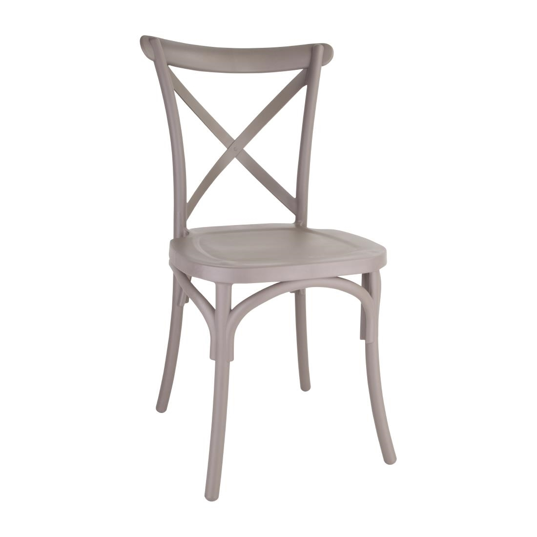 Image of Bolero Polypropylene Cross Back Side Chair Cappuccino (Pack of 4) Pack of 4