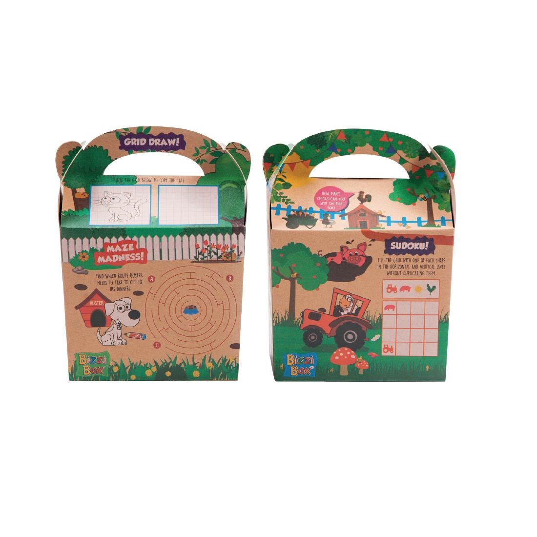 Image of Craftis Kids Recycled Kraft Bizzi Meal Boxes Pet and Farm (Pack of 200) Pack of 200