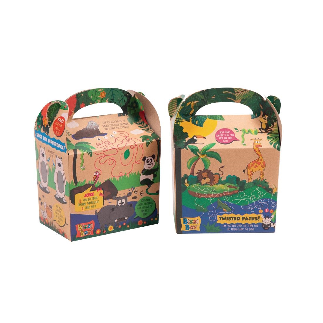 Craftis Kids Recycled Kraft Bizzi Meal Boxes Safari and Zoo Pack of 200