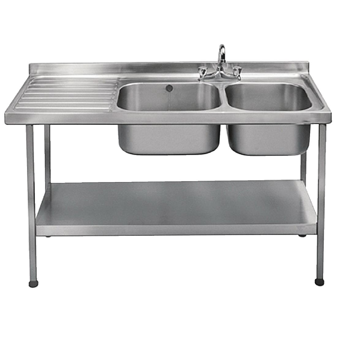 Image of Franke Sissons Self Assembly Stainless Steel Double Sink Left Hand Drainer 1500x600mm
