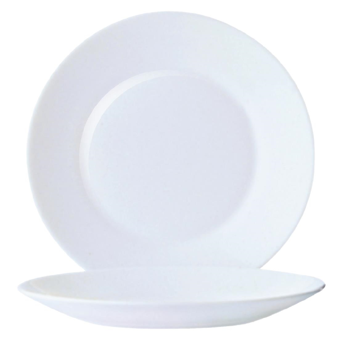 Image of Arcoroc Opal Restaurant Wide Rim Plates 254mm (Pack of 6) Pack of 6