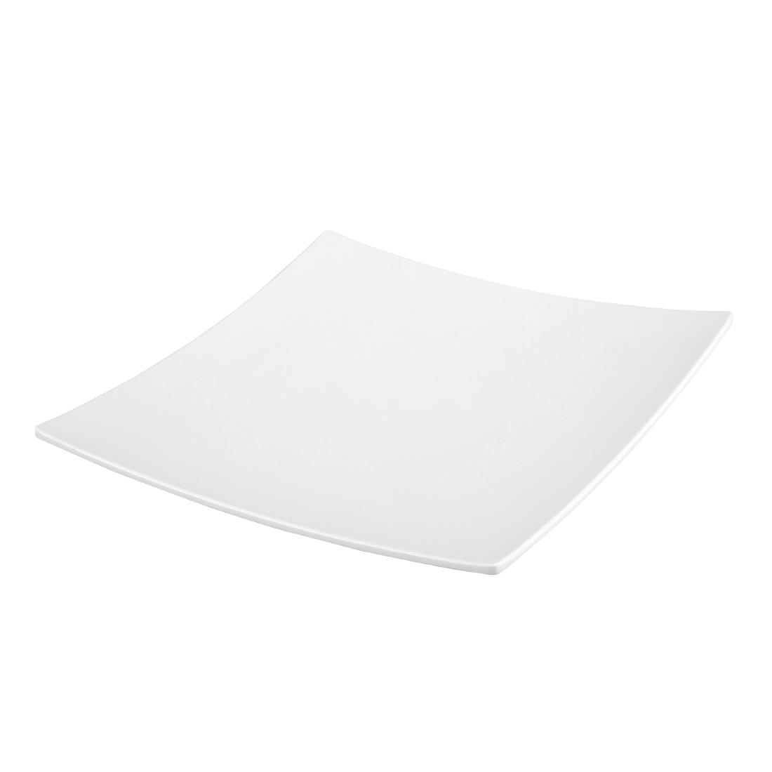 Image of Curved Square Melamine Plate White 300mm