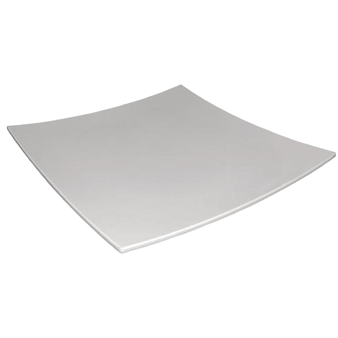 Image of Curved Square Melamine Plate White 400mm