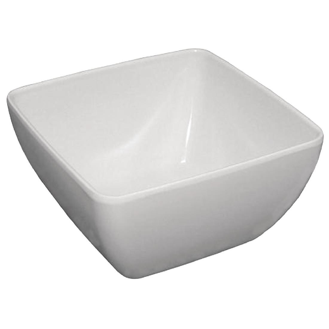 Image of Curved White Melamine Bowl 8in