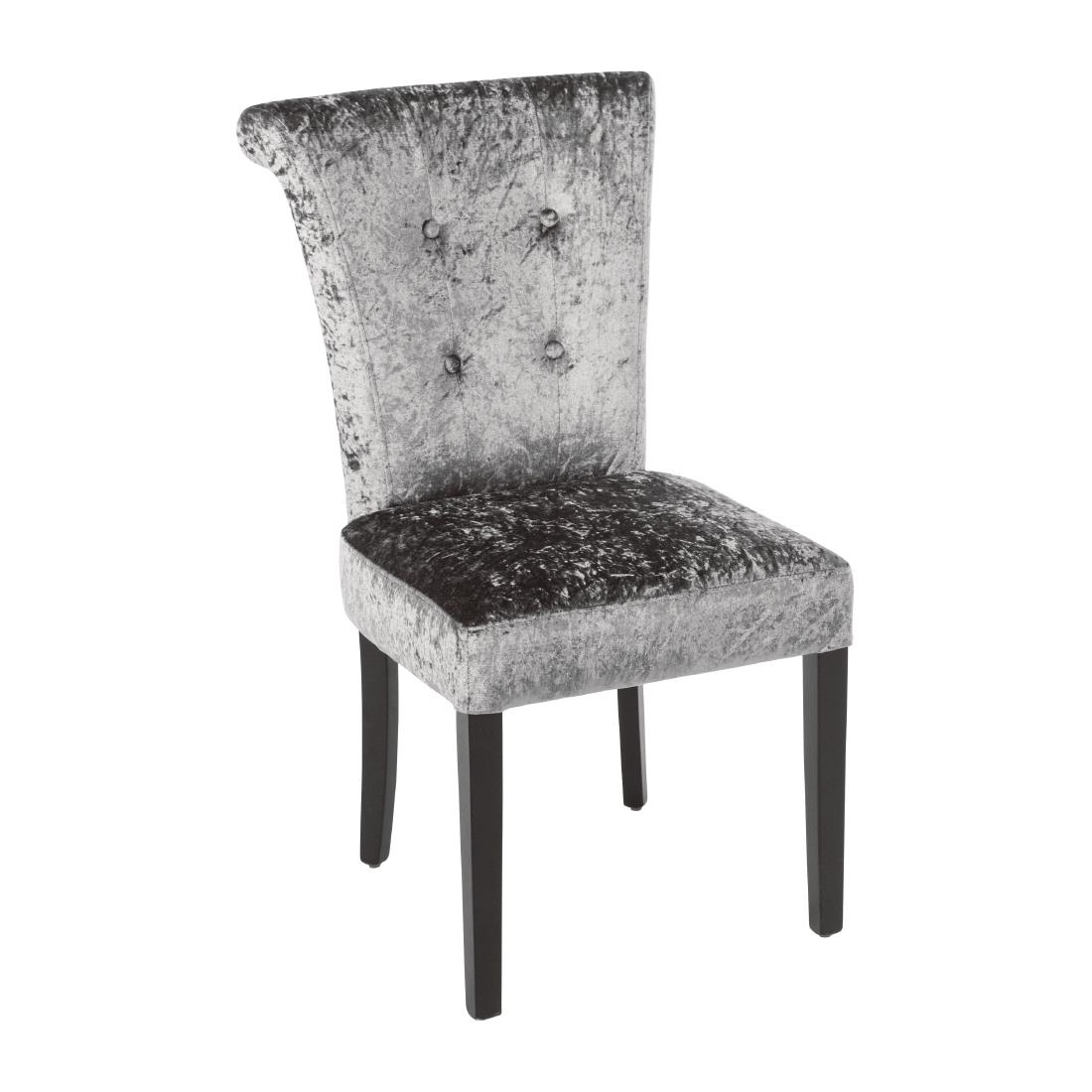 Bolero Olive Grey Crushed Velvet Dining Chair Pack Of 2 Dr308