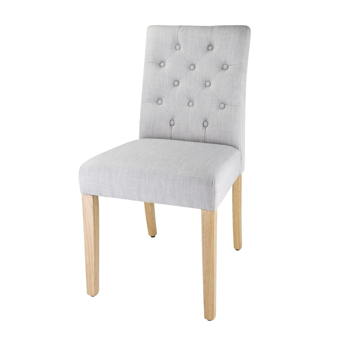 Bolero Chiswick Button Dining Chairs French Grey (Pack of 2) Pack of 2