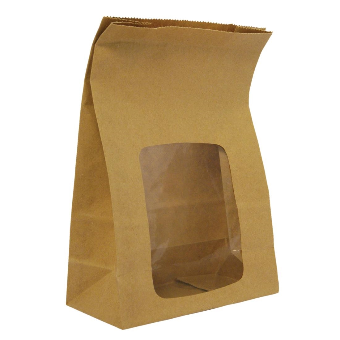 Vegware Compostable Kraft Fully-Lined Sandwich Bags With NatureFlex Window Pack of 250