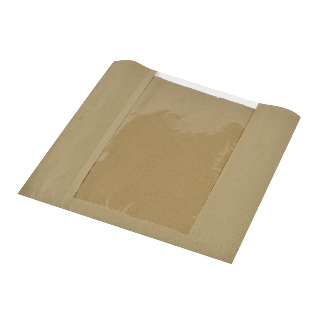 Vegware Compostable Large Kraft Sandwich Bags With PLA Window Pack of 1000